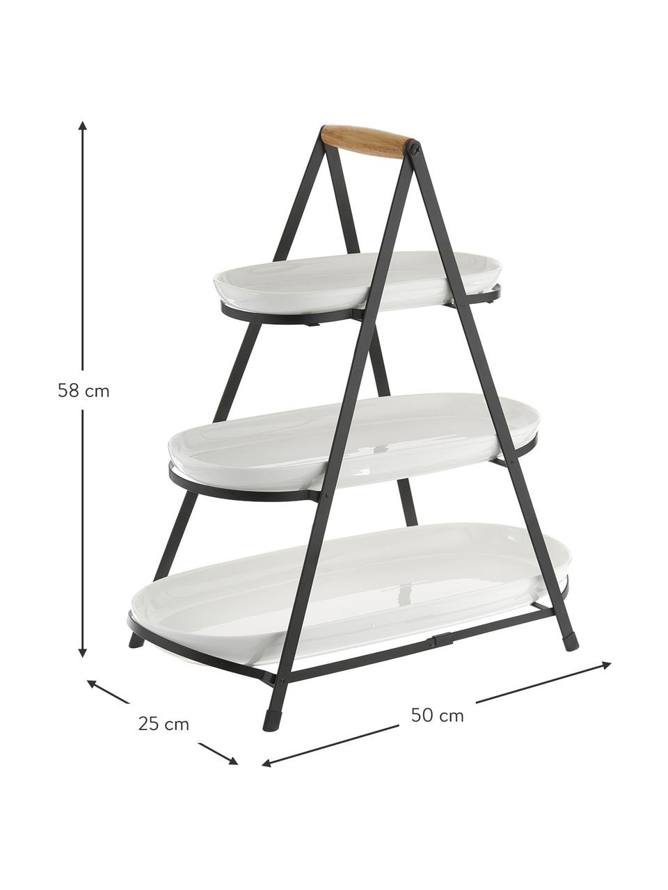 Etagère Tower met afneembaar plateaus van porselein, Plateaus: porselein, Frame: metaal, Wit, zwart, houtkleurig, 50 x 55 cm