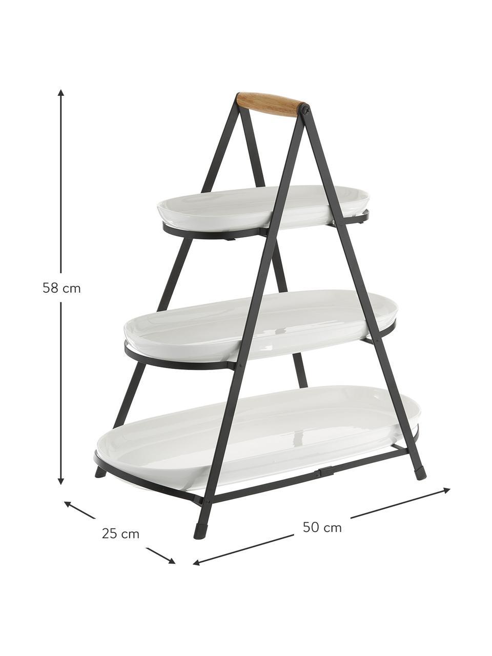 Etagere Tower mit abnehmbaren Ablageflächen aus Porzellan, Gestell: Metall, Griff: Holz, Weiß, Schwarz, Holz, B 50 x H 55 cm