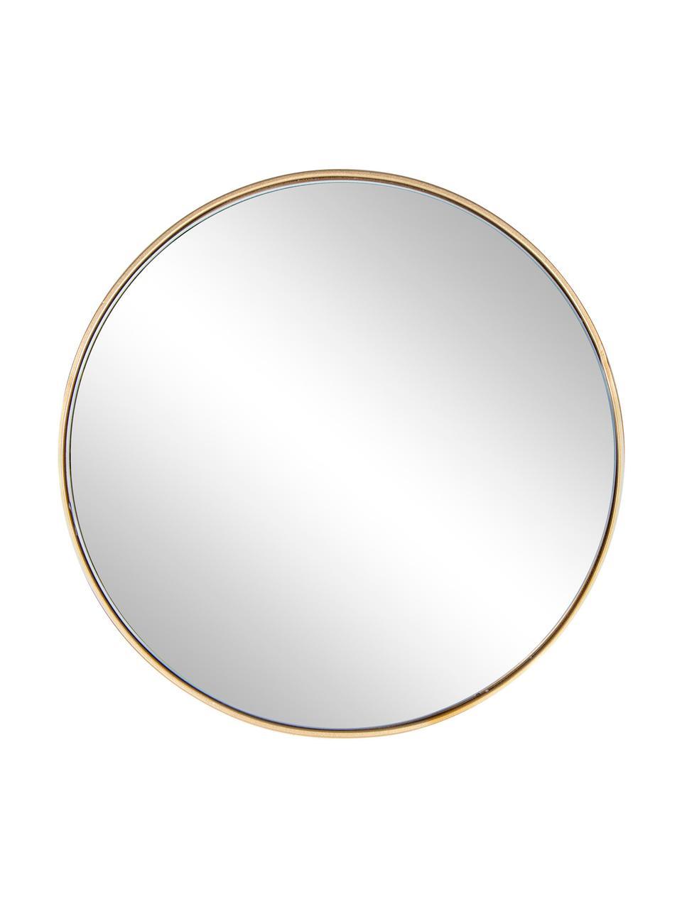 Ronde wandspiegel Nucleos met goudkleurige lijst, Frame: gecoat metaal, Messingkleurig, Ø 40 cm