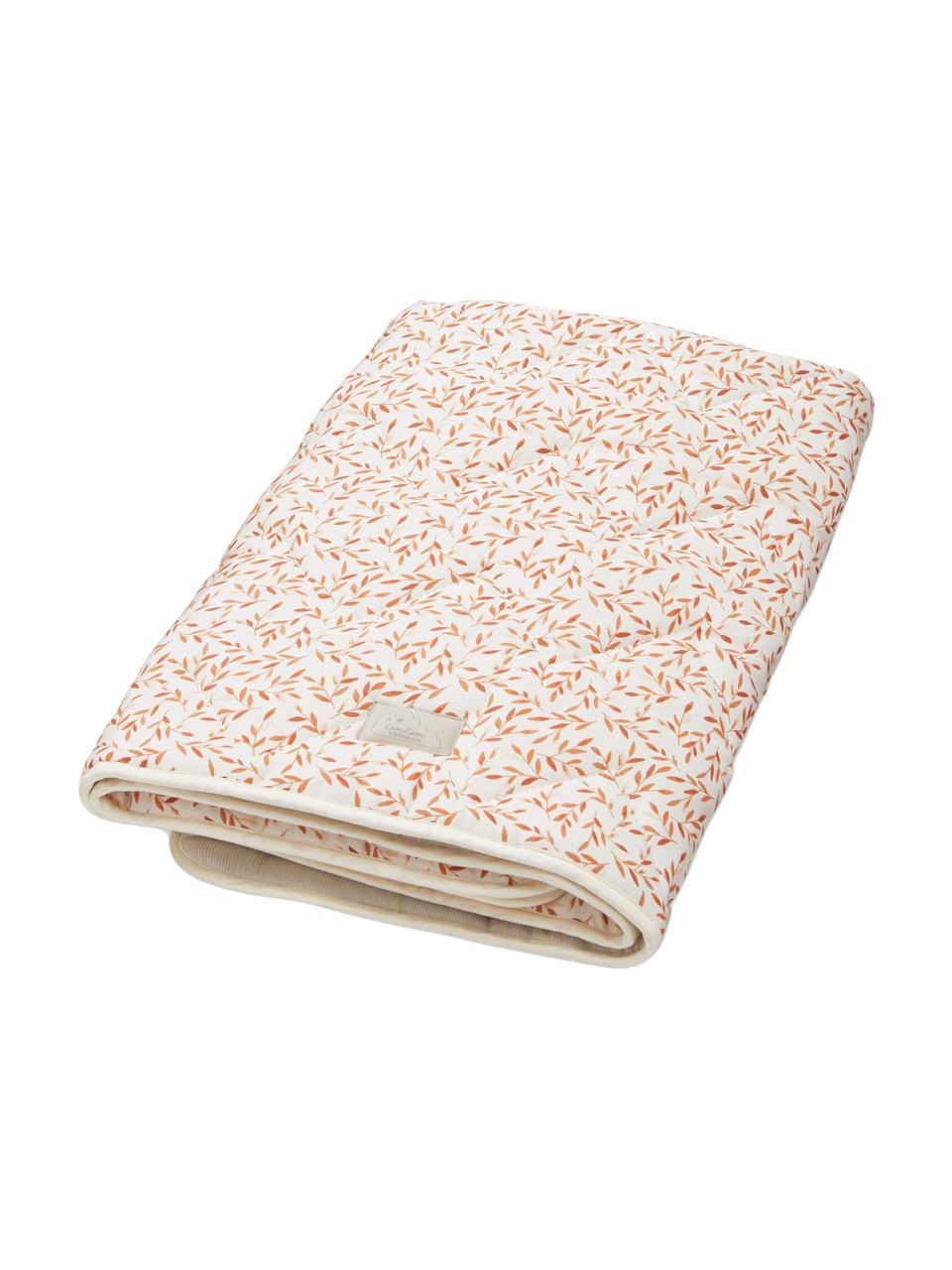 Decke Leaves aus Bio-Baumwolle, Bezug: 100% Bio-Baumwolle, OCS-z, Cremefarben, Orange, 100 x 100 cm
