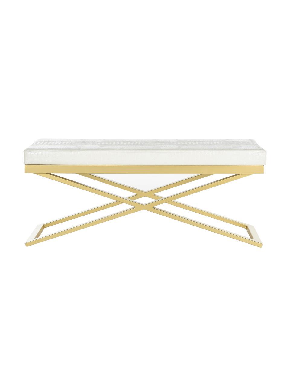 Kunstleder-Sitzbank Susan, Gestell: Stahl, lackiert, Bezug: Kunstleder (Polyurethan) , Weiß, Goldfarben, 109 x 46 cm
