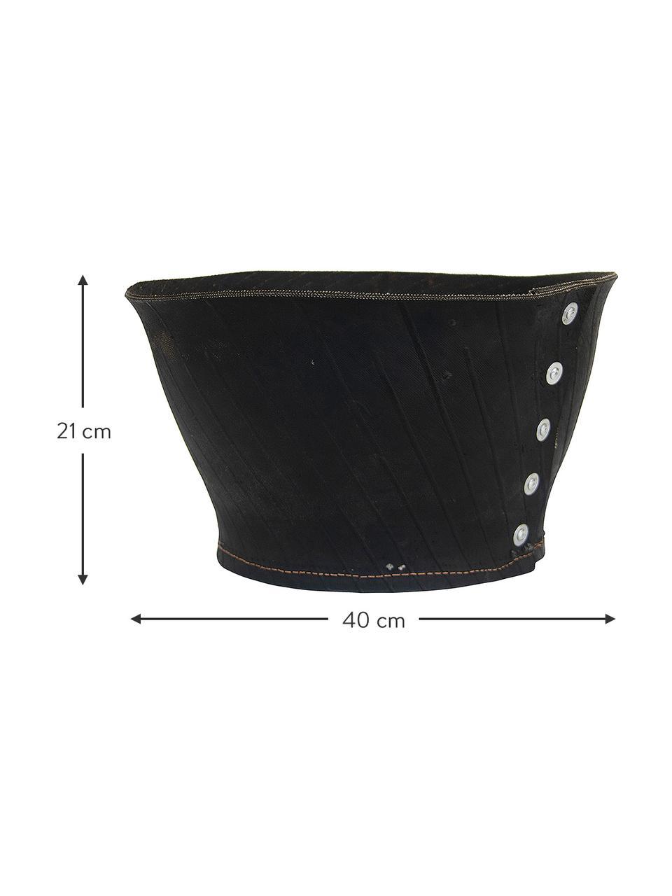 Großer handgefertigter Übertopf Reuse, Gummi, recycelt, Schwarz, 40 x 21 cm