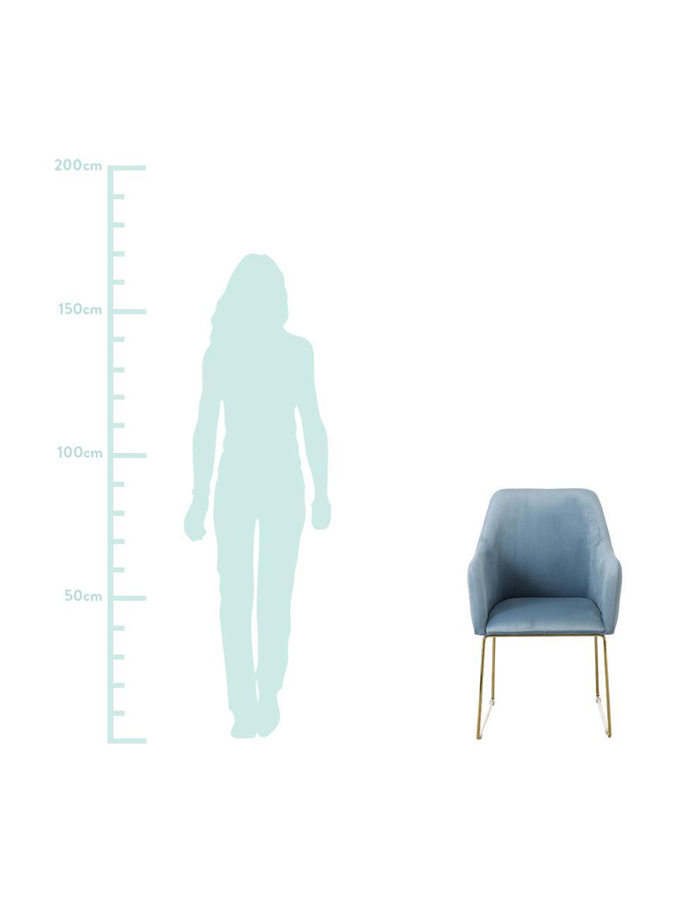Samt-Polsterstuhl Isla mit Armlehnen, Bezug: Samt (Polyester) 50.000 S, Beine: Metall, beschichtet, Samt Hellblau, Beine Gold, B 58 x T 62 cm
