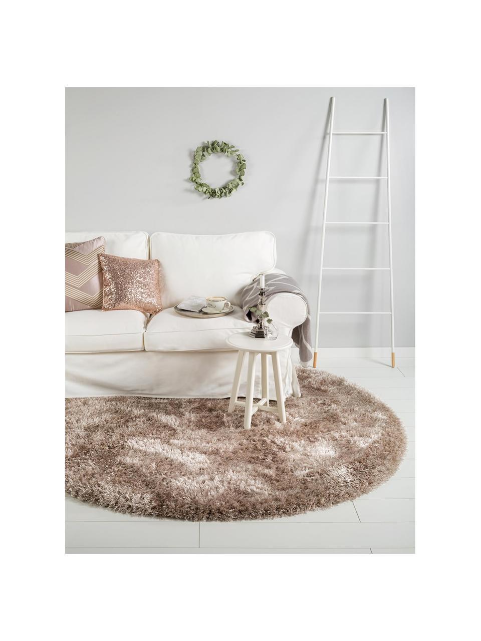 Glänzender Hochflor-Teppich Lea in Beige, rund, 50% Polyester, 50% Polypropylen, Beige, Ø 160 cm (Größe M)