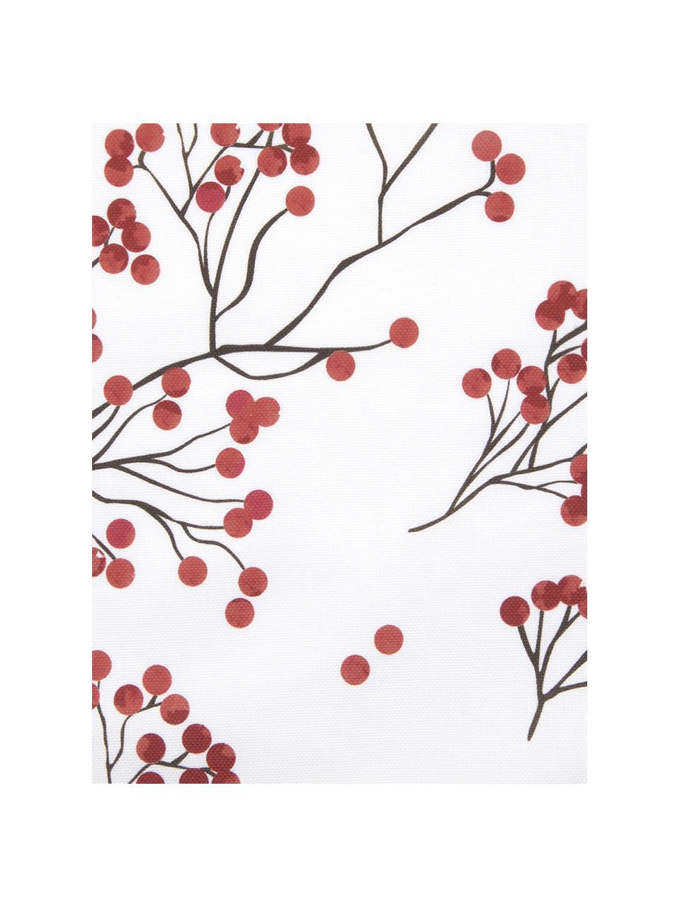 Kissenhülle Berry mit Winterzweigen, Baumwolle, Rot, Schwarz, Weiss, 40 x 40 cm