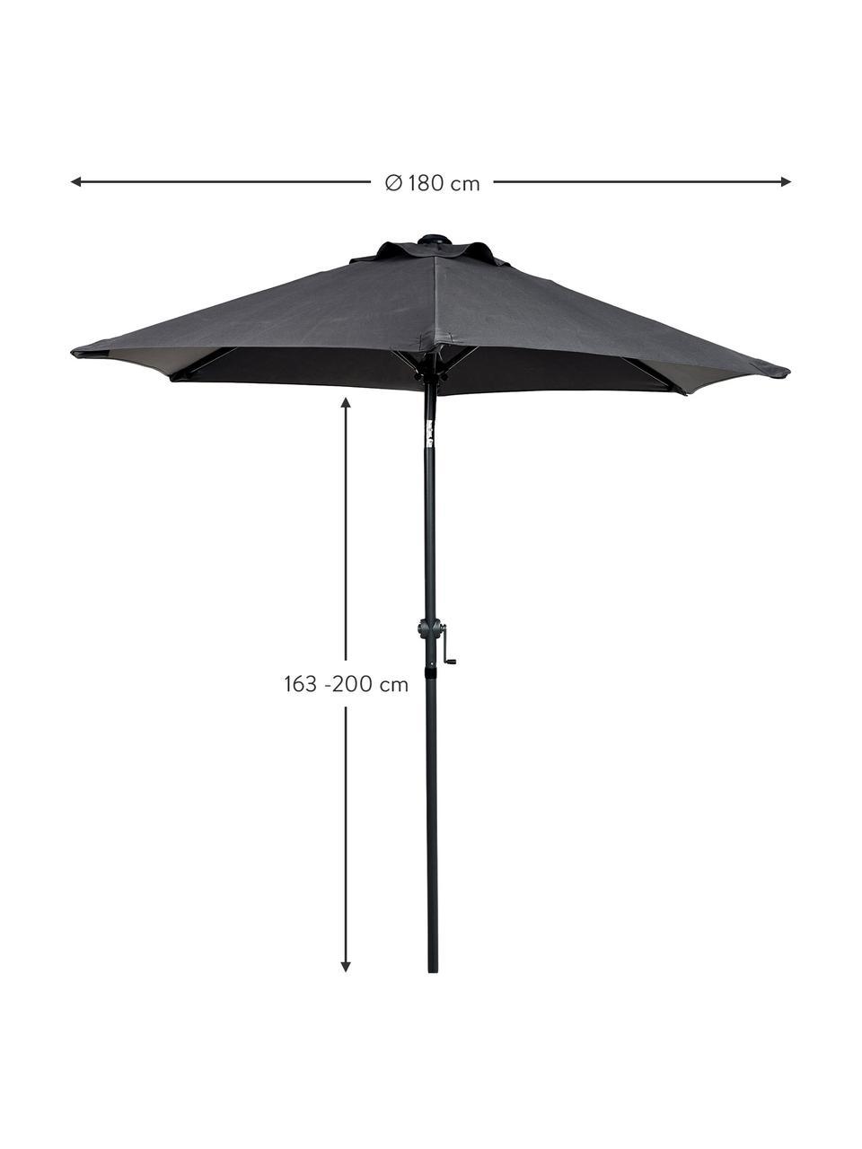 Sonnenschirm Siesta in Schwarz mit Kurbel, Gestell: Aluminium, beschichtet, Bezug: Polyester, Anthrazit, Schwarz, Ø 250 x H 240 cm