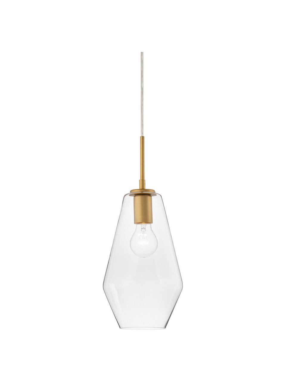 Lampa wisząca ze szkła Prisma, Odcienie mosiądzu, transparentny, Ø 17 x W 40 cm