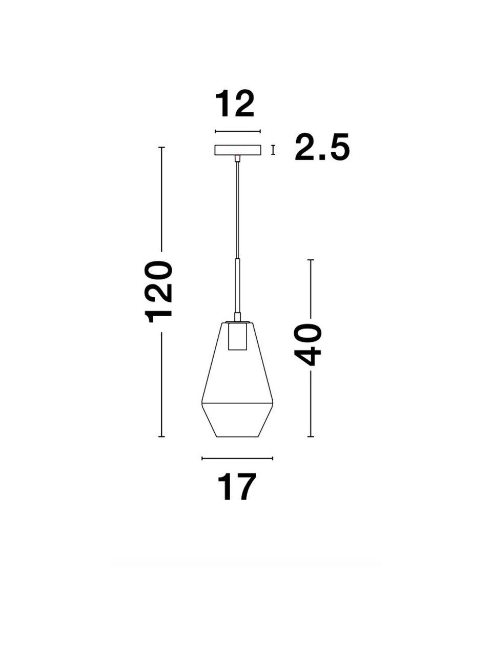 Lampada a sospensione dorata Prisma, Paralume: vetro, Decorazione: alluminio rivestito, Baldacchino: alluminio rivestito, Ottonato, trasparente, Ø 17 x Alt. 40 cm