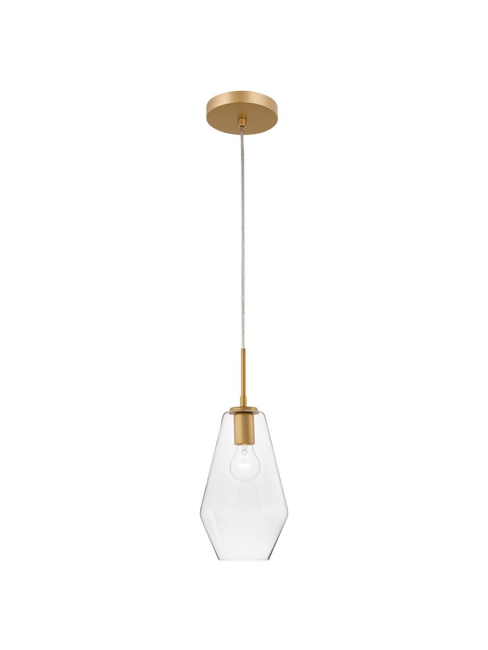 Mała lampa wisząca ze szkła Prisma, Odcienie mosiądzu, transparentny, Ø 17 x W 40 cm