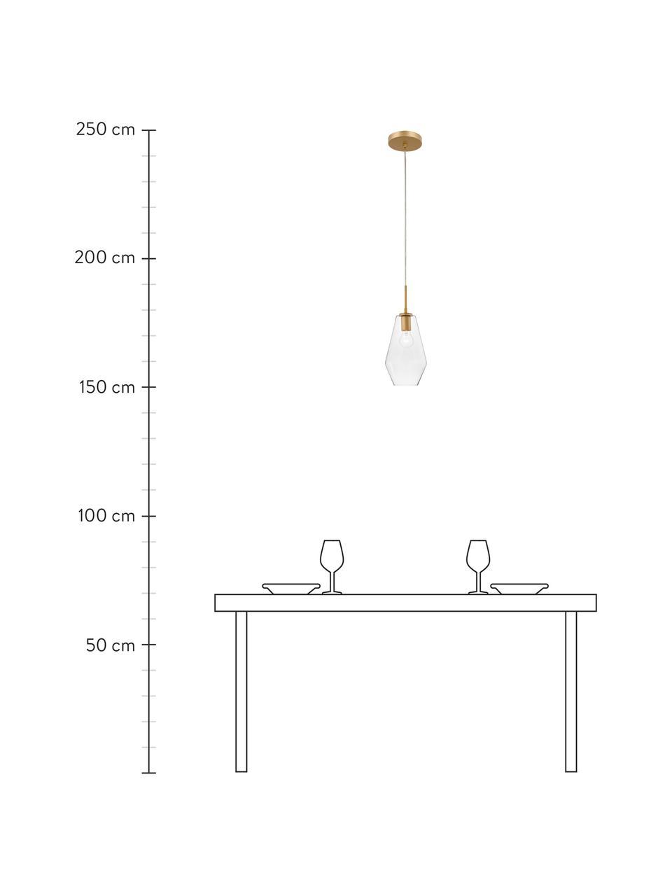 Kleine Pendelleuchte Prisma aus Glas, Lampenschirm: Glas, Dekor: Aluminium, beschichtet, Baldachin: Aluminium, beschichtet, Messingfarben, Transparent, Ø 17 x H 40 cm