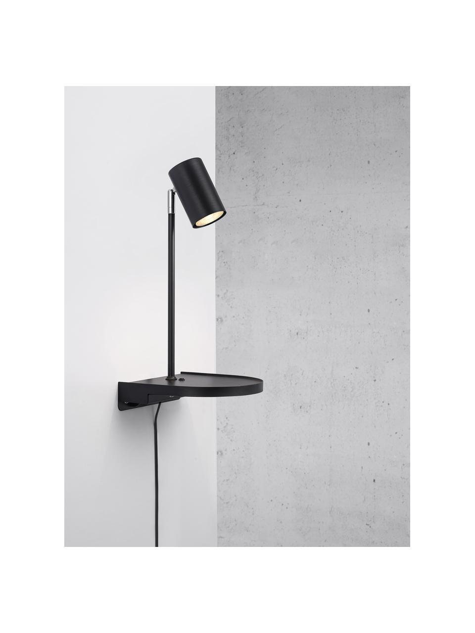 Moderne Wandleuchte Colly mit Stecker, Lampenschirm: Metall, beschichtet, Schwarz, 20 x 43 cm
