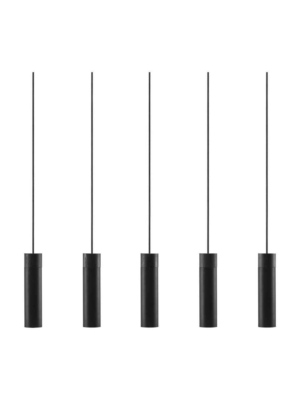 Lampada a sospensione nera-dorata con decoro in legno Tilo, Paralume: metallo rivestito, Baldacchino: metallo rivestito, Nero, Larg. 81 x Alt. 25 cm