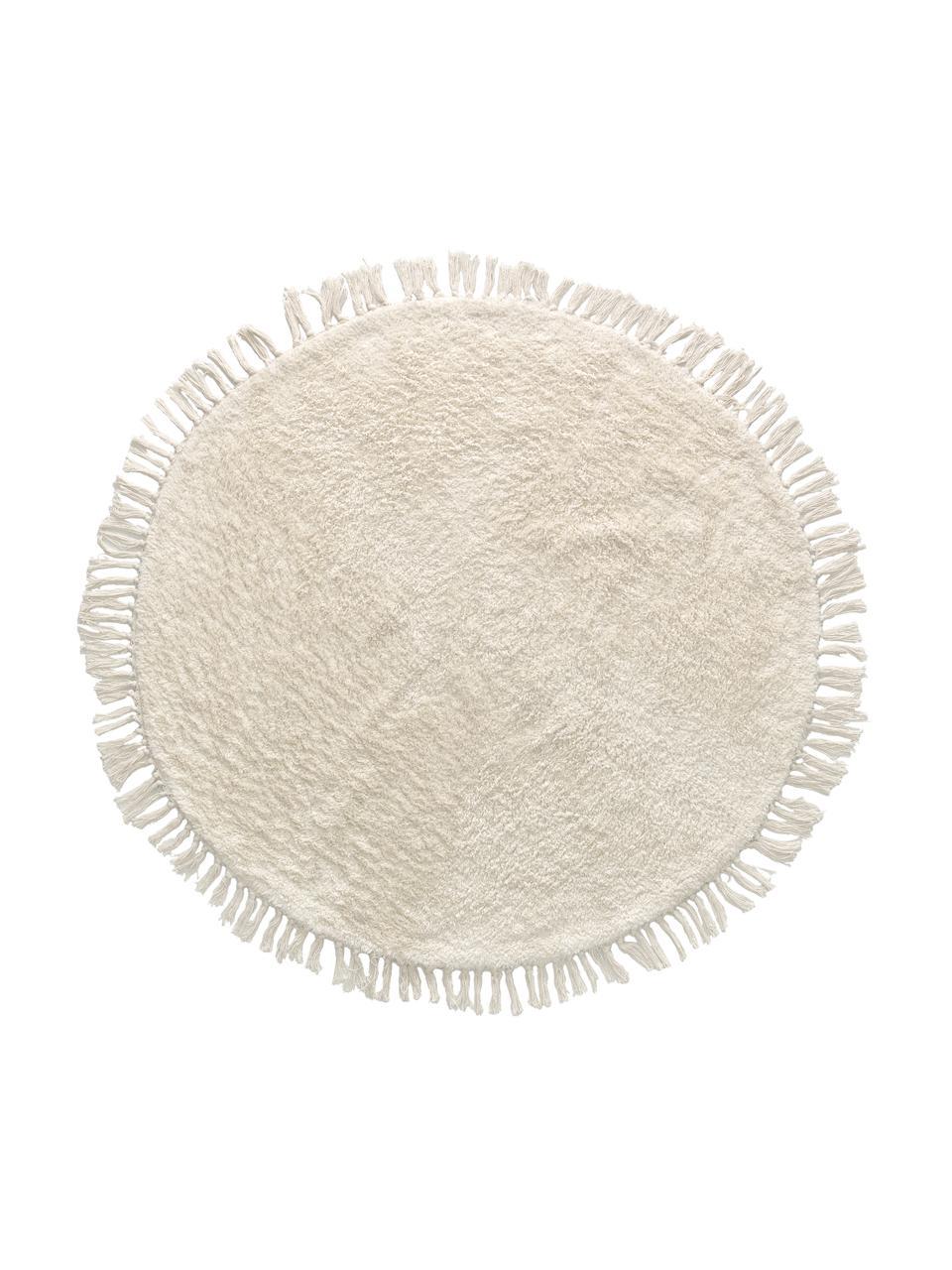 Tapis rond avec franges coton Orwen, Blanc