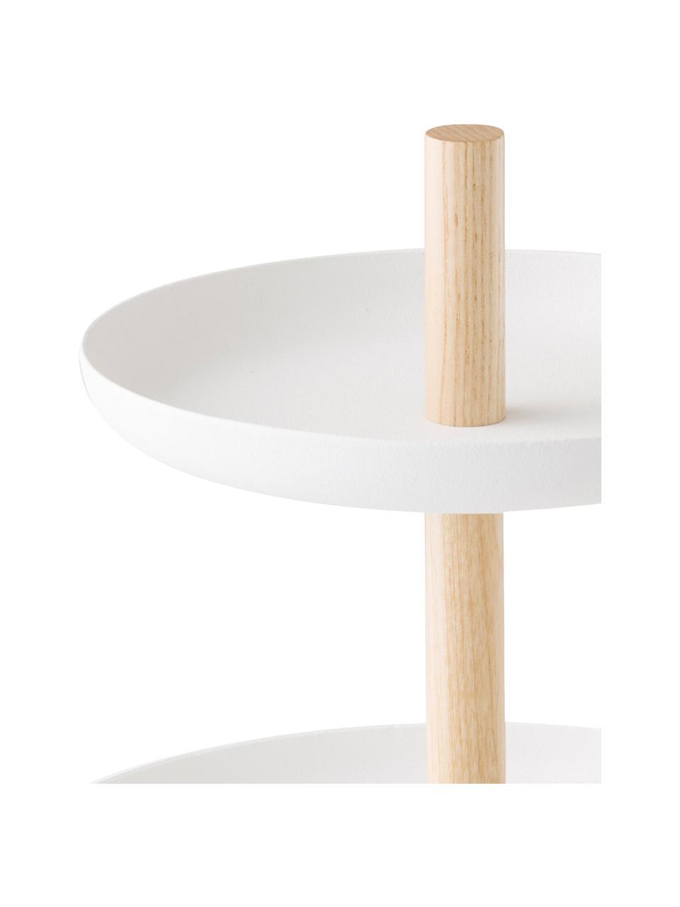 Etagere Tosca aus Stahl und Holz, Ø 20 cm, Stange: Holz, Weiß, Braun, 20 x 24 cm