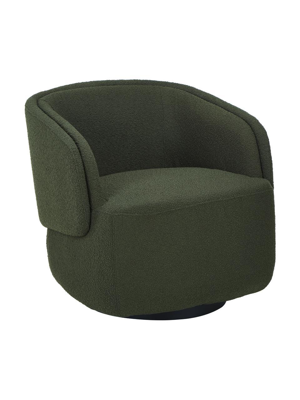 Fotel obrotowy bouclé Irene, Tapicerka: bouclé (100% poliester) D, Ciemny zielony, S 74 x G 70 cm