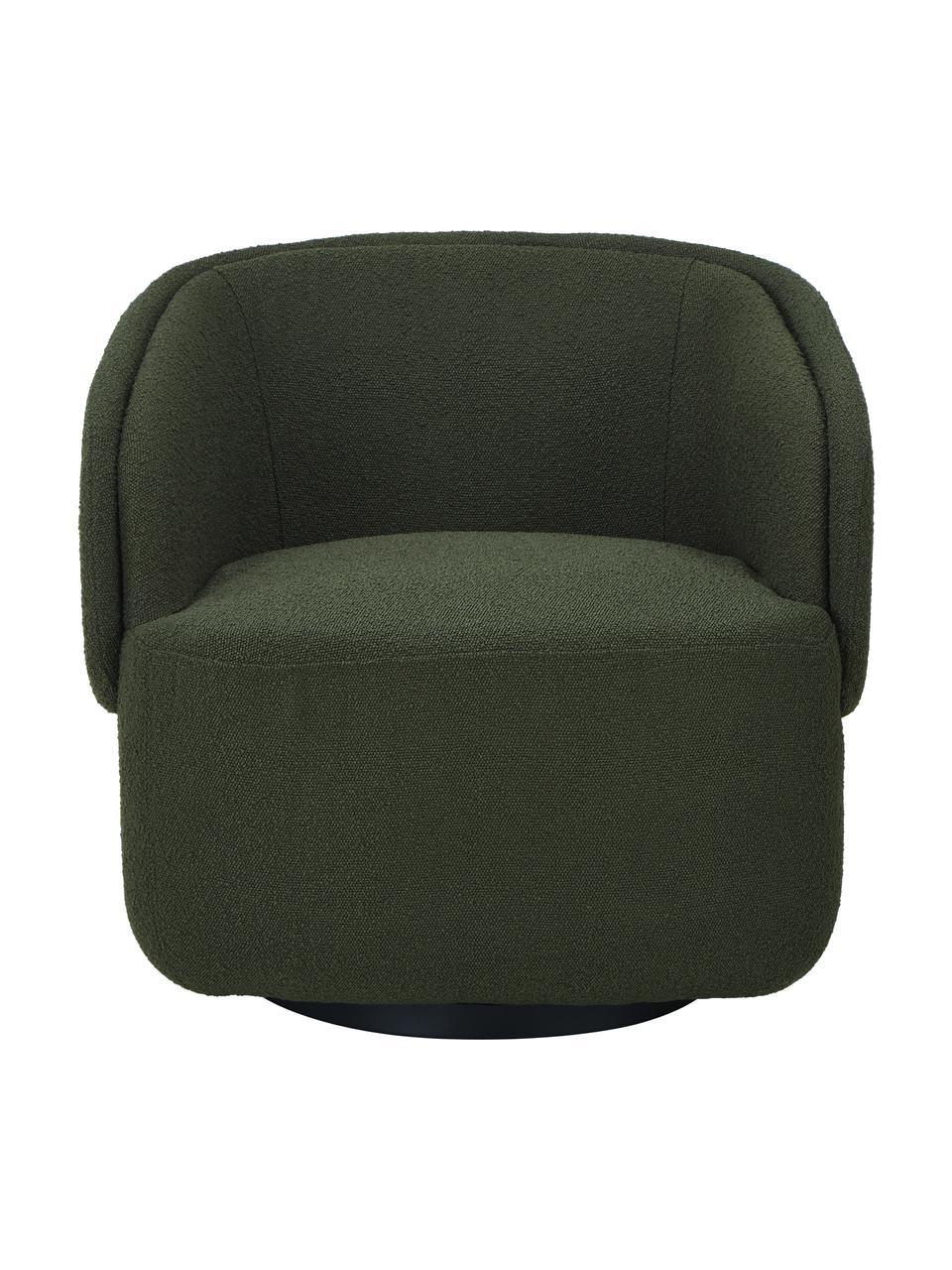 Poltrona girevole in bouclé verde scuro Irene, Struttura: metallo, Piedini: metallo verniciato a polv, Bouclé verde scuro, Larg. 74 x Alt. 70 cm