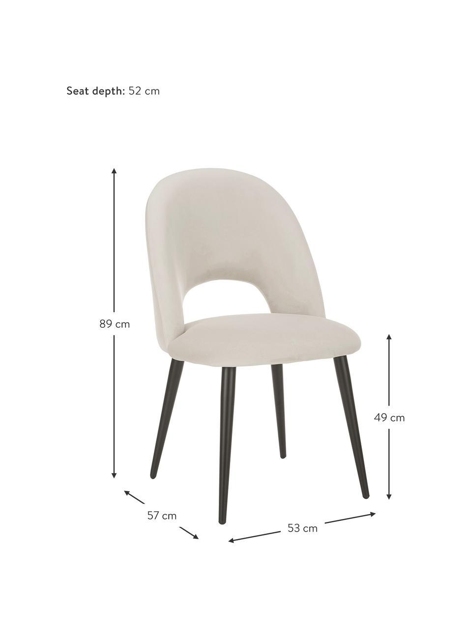 Samt-Polsterstuhl Rachel in Beige, Bezug: Samt (100% Polyester) Der, Beine: Metall, pulverbeschichtet, Samt Beige, B 53 x T 57 cm