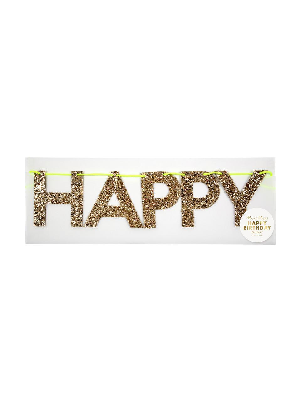 Ghirlanda Happy Birthday, Carta, cartone, filo, Dorato, L 28 x A 13 cm