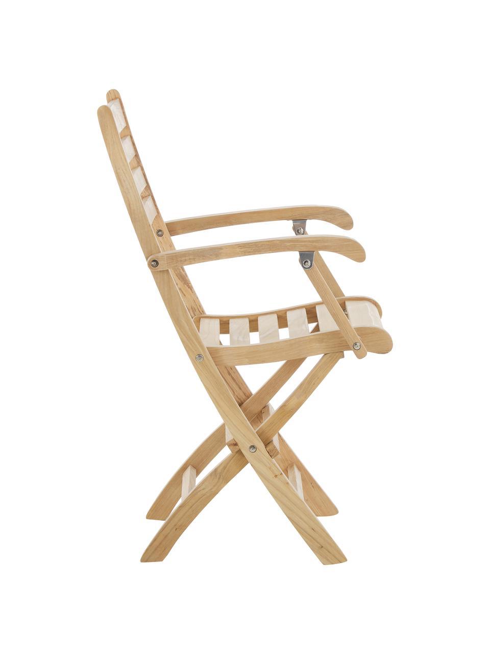 Krzesło ogrodowe z podłokietnikami  z drewna York, Drewno tekowe, piaskowane, Drewno tekowe, 51 x 86 cm