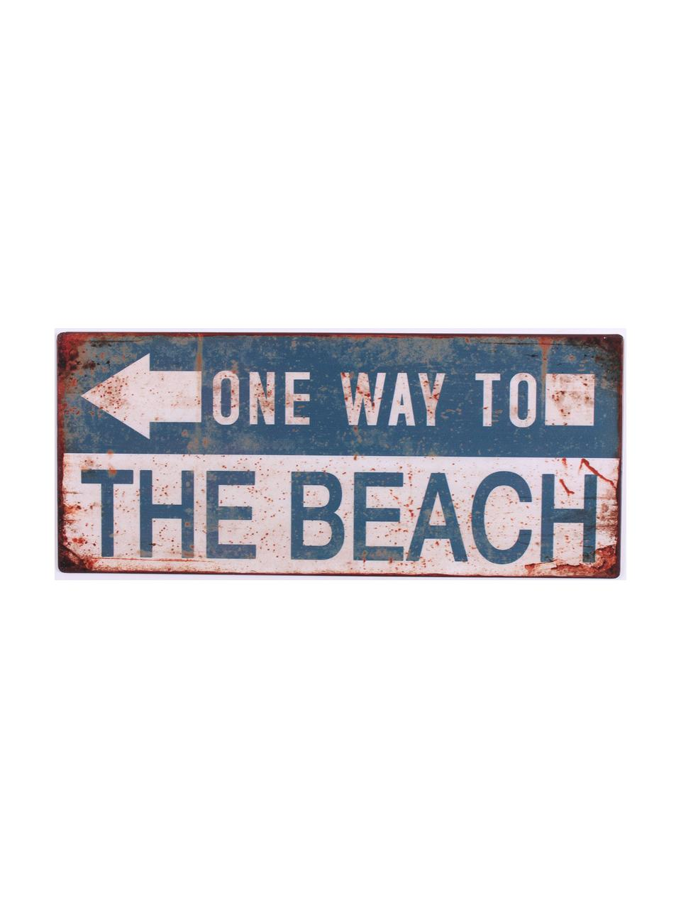 Wandschild One way to the beach, Metall, beschichtet, Blau, gebrochenes Weiß, Rostbraun, 31 x 13 cm