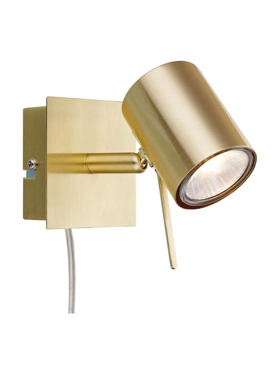 Applique a LED con spina Hyssna, Paralume: metallo ottonato, Ottone, Larg. 8 x Alt. 9 cm