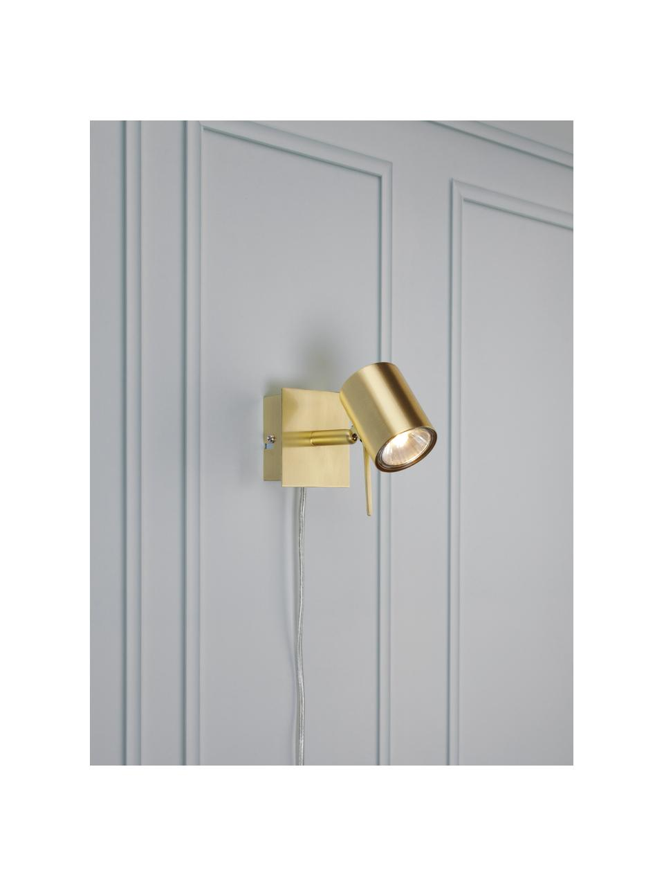 Wandstrahler Hyssna mit Stecker, Lampenschirm: Metall, vermessingt, Messing, 8 x 9 cm