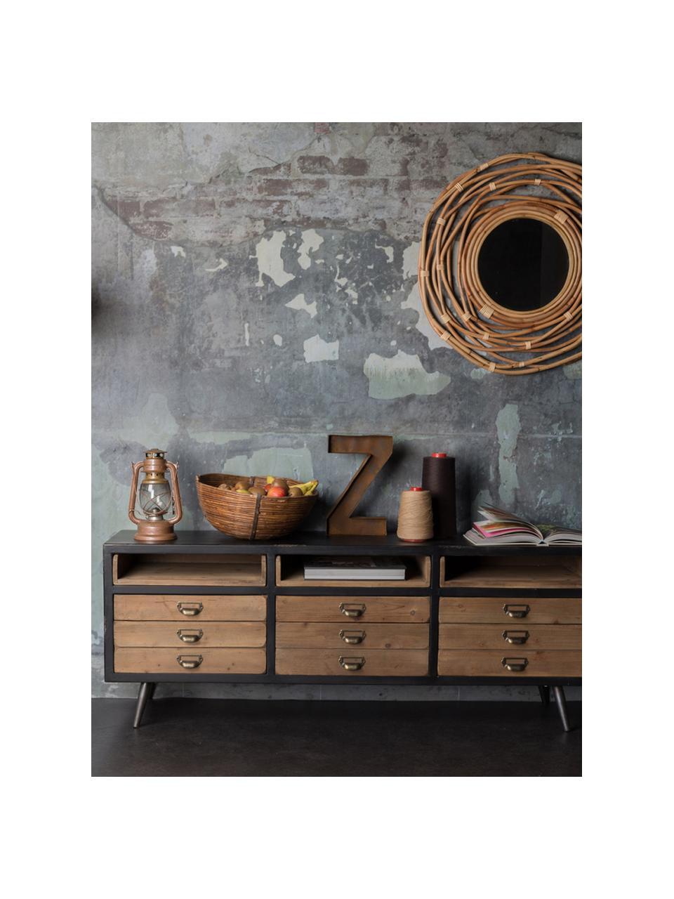 Szafka niska industrial Sol, Korpus: średniej gęstości płyta p, Czarny, drewno sosnowe, S 155 x W 58 cm