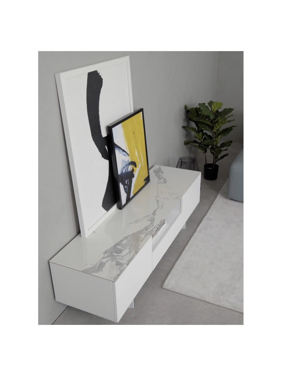 Witte Tv-meubel Fiona met oppervlak in marmerlook, Frame: gelakt MDF, Poten: gepoedercoat metaal, Plank: keramiek, Frame: mat wit poten: mat wit plank: wit, gemarmerd, 160 x 46 cm