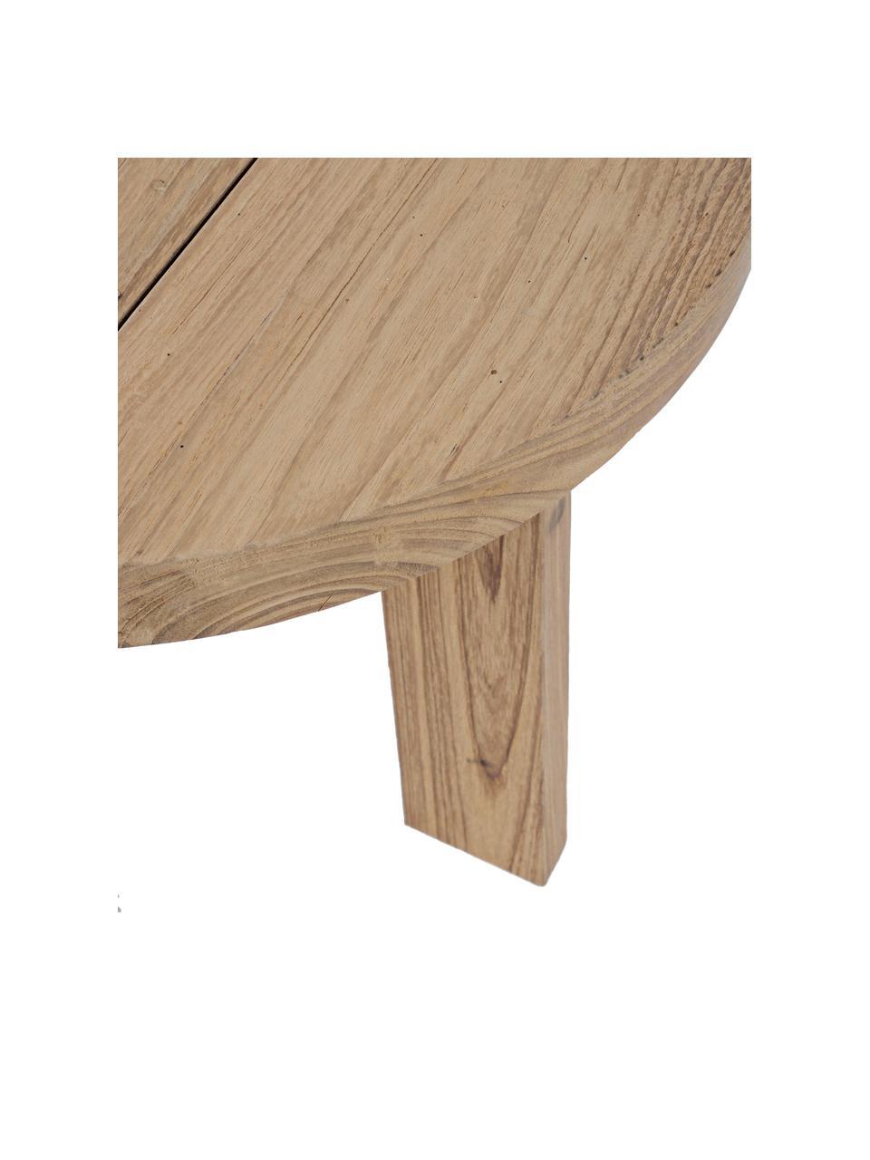 Ogrodowy stolik kawowy z drewna tekowe Bolivar, Drewno tekowe, jasne, lakierowane, Brązowy, Ø 50 x W 45 cm
