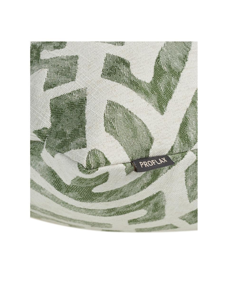 Poszewka na poduszkę z efektem sprania etno Elani, 65%poliester, 25%wiskoza, 10%len, Kremowy, zielony, S 40 x D 40 cm