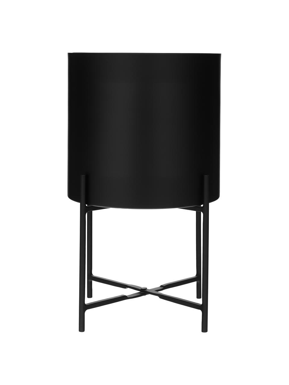 Übertopf-Set Mina aus Metall, 2-tlg., Metall, pulverbeschichtet, Schwarz, matt, Set mit verschiedenen Größen