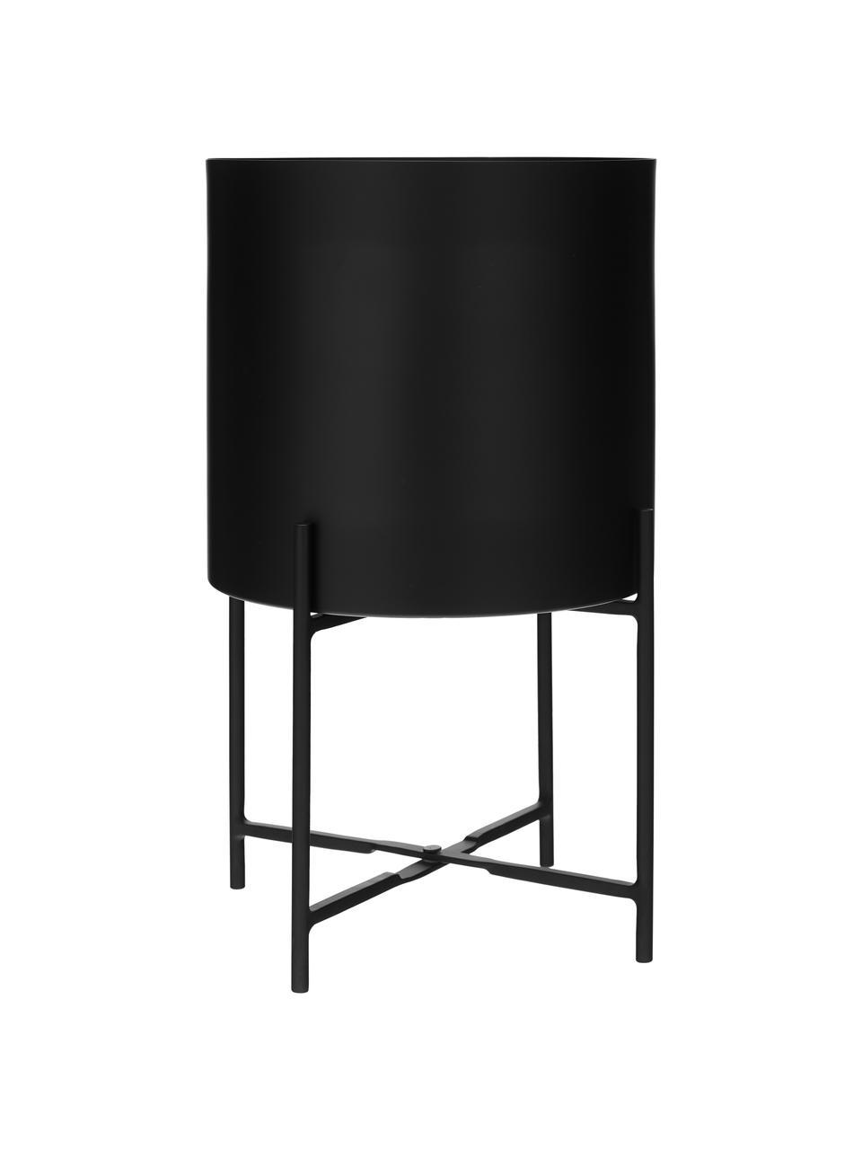 Übertopf-Set Mina aus Metall, 2-tlg., Metall, pulverbeschichtet, Schwarz, matt, Sondergrößen