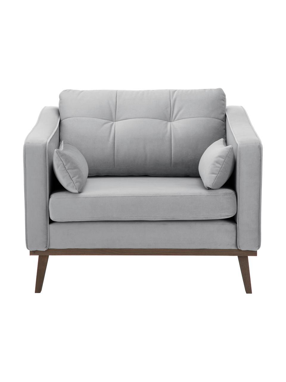 Fotel z aksamitu  z nogami z drewna bukowego Alva, Tapicerka: aksamit (wysokiej jakości, Nogi: lite drewno bukowe, barwi, Aksamitny szary, S 102 x G 92 cm