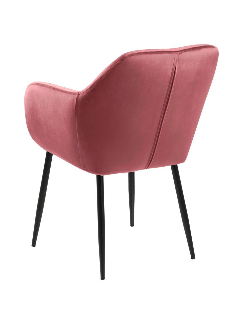 Krzesło z podłokietnikami z aksamitu i metalowymi nogami Emilia, Tapicerka: aksamit poliestrowy Dzięk, Nogi: metal lakierowany, Aksamitny koralowy, czarny, S 57 x G 59 cm