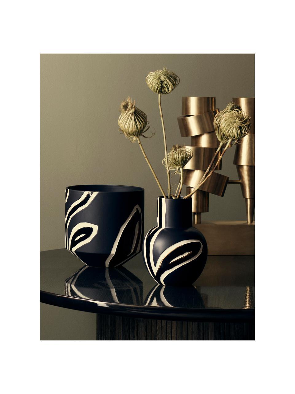 Ručně vyrobená designová váza Fiora, Modročerná, krémová, zlatá