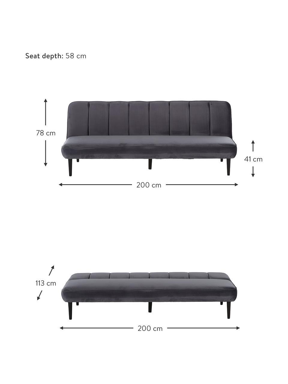 Sofa z aksamitu z drewnianymi nogami i funkcją spania Hayley, Tapicerka: aksamit (poliester) Dzięk, Nogi: drewno kauczukowe, lakier, Aksamitny szary, S 200 x G 89 cm