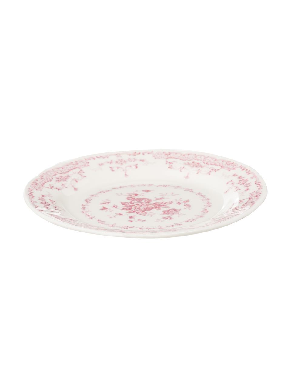 Geschirr-Set Rose mit Blumendesign in Rosa, 6 Personen (18-tlg.), Keramik, Weiß, Rosa, Sondergrößen