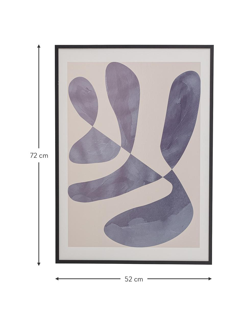 Gerahmter Digitaldruck Luane, Bild: Digitaldruck auf Papier, Rahmen: Holz, lackiert, Front: Plexiglas, Schwarz, 52 x 72 cm