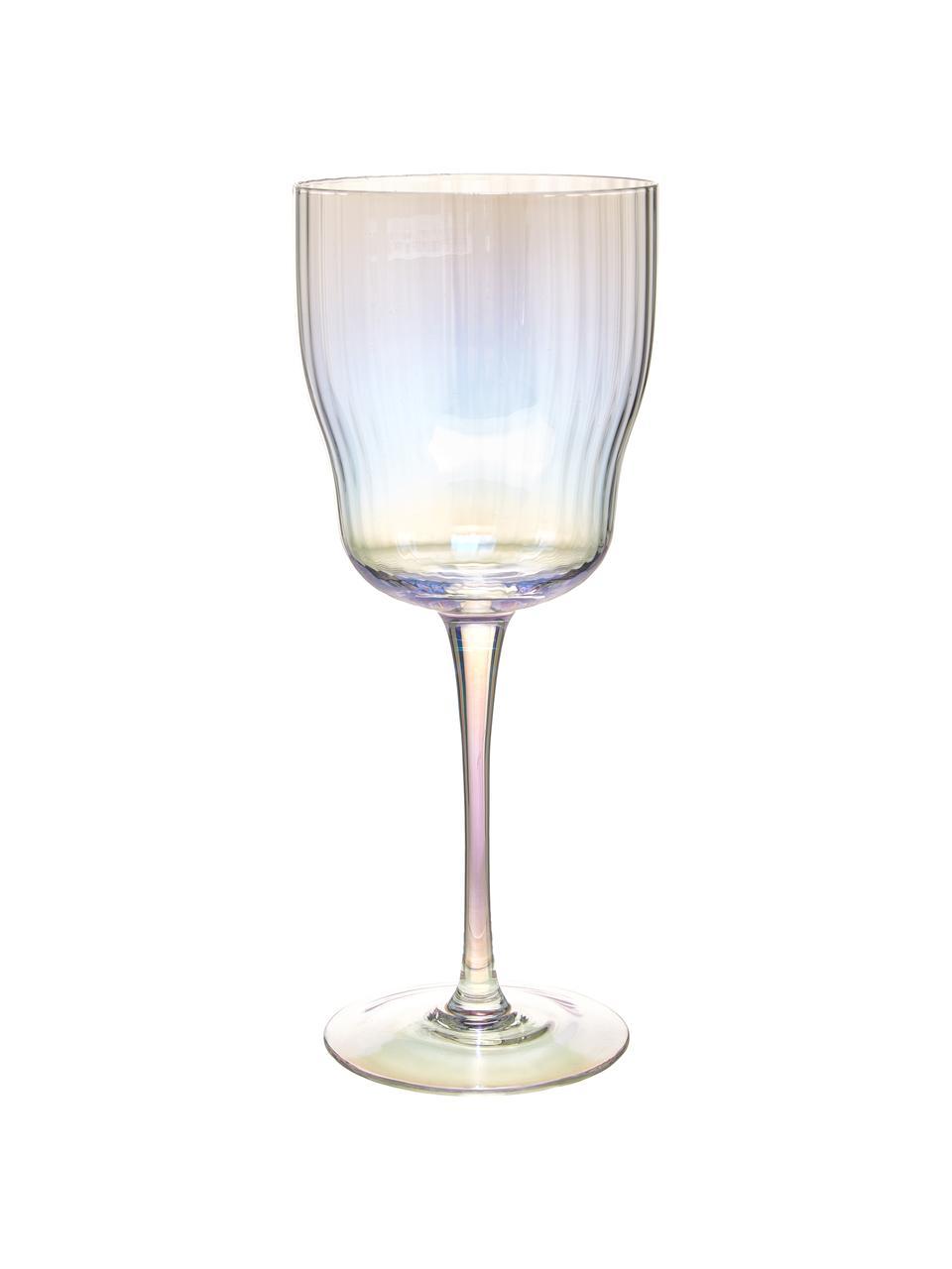Bicchiere vino in vetro soffiato con rilievo scanalato e lucentezza perlacea Juno 4 pz, Vetro, Trasparente, Ø 9 x Alt. 21 cm