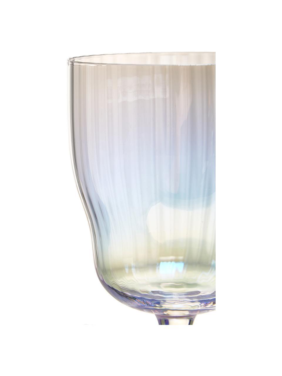Mundgeblasene Weingläser Juno mit Rillenrelief und Perlmuttglanz, 4 Stück, Glas, Transparent, Ø 9 x H 21 cm