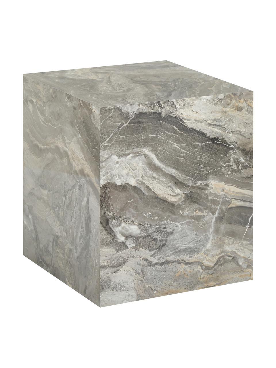 Beistelltisch Lesley in Marmor-Optik, Mitteldichte Holzfaserplatte (MDF), mit Melaminfolie überzogen, Grau, Marmor-Optik, 45 x 50 cm