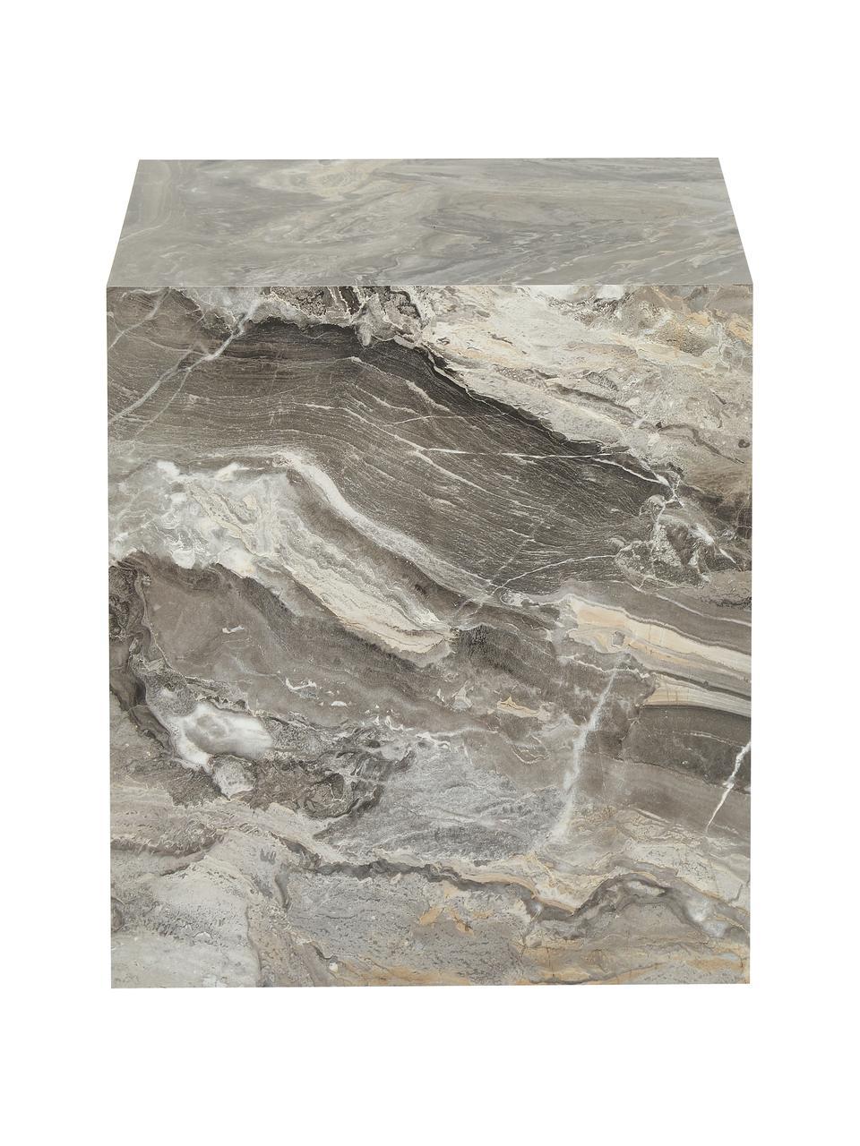 Stolik pomocniczy z imitacją marmuru Lesley, Płyta pilśniowa średniej gęstości (MDF) pokryta folią melaminową, Szary, imitacja marmuru, S 45 x W 50 cm