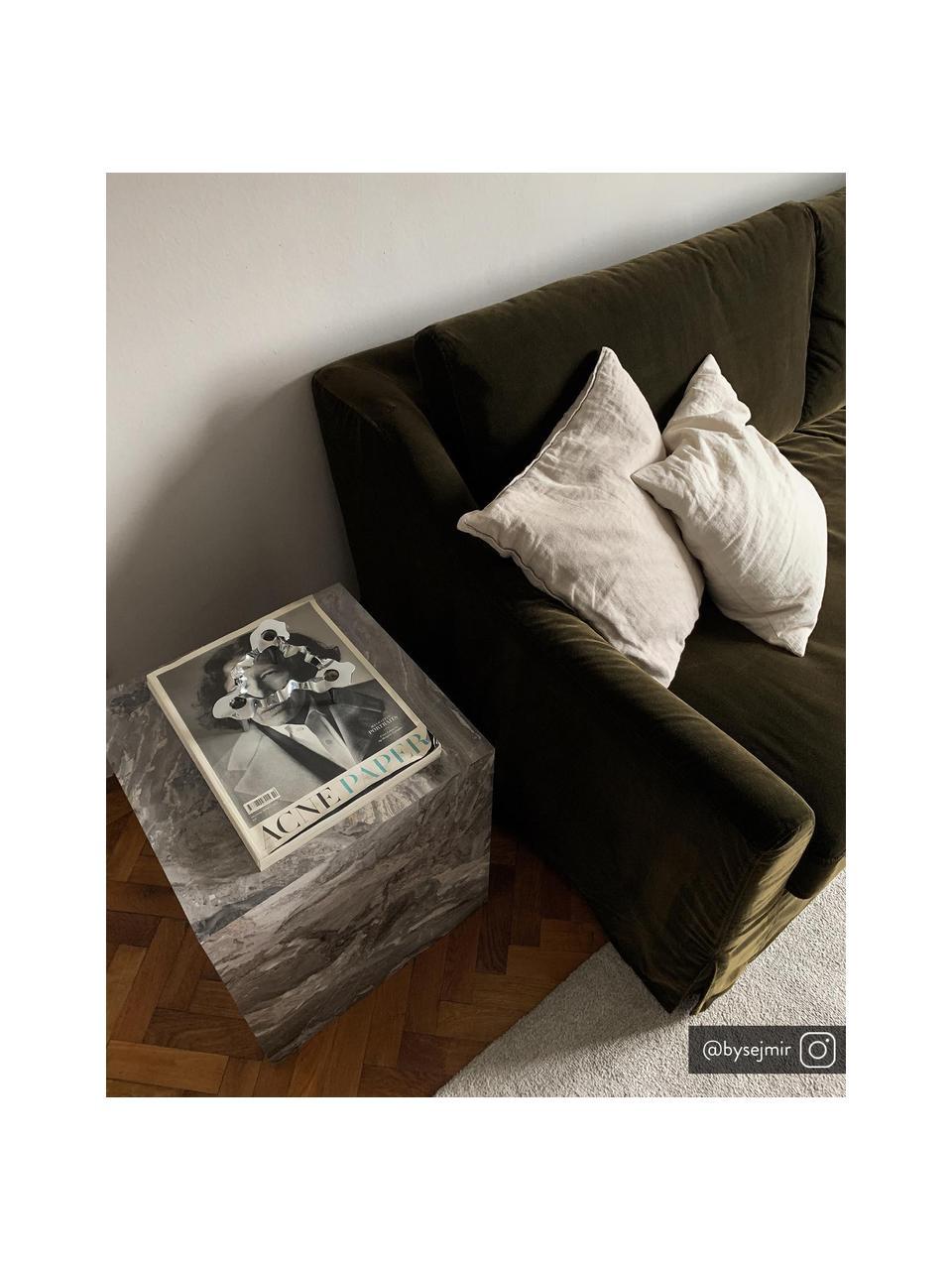 Bijzettafel Lesley in marmerlook, MDF bekleed met melaminefolie, Gemarmerd grijs, 45 x 50 cm