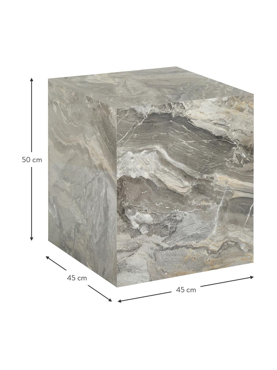 Beistelltisch Lesley in Marmoroptik, Mitteldichte Holzfaserplatte (MDF), mit Melaminfolie überzogen, Grau, Marmoroptik, 45 x 50 cm