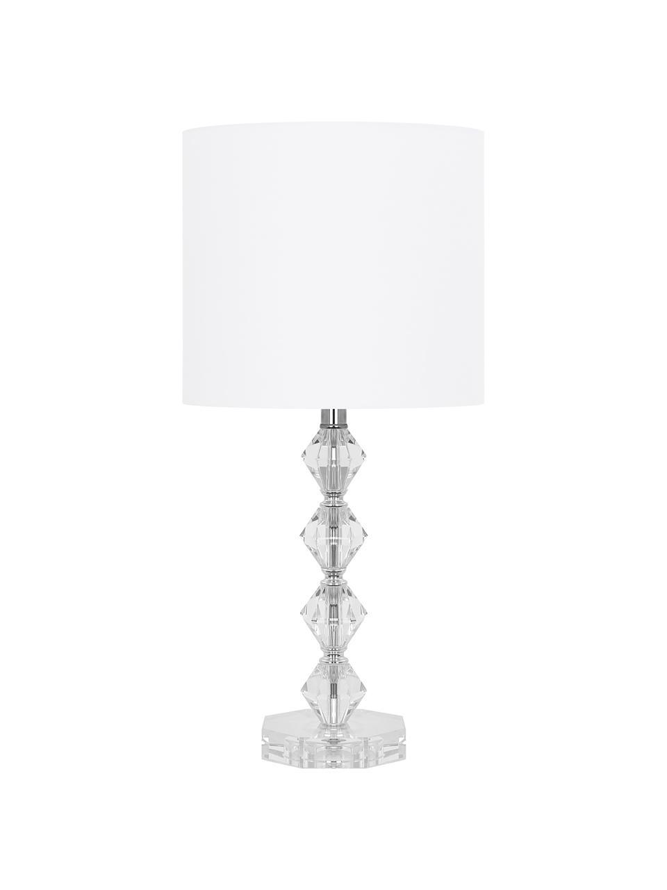 Große Tischlampe Diamond aus Kristallglas, Lampenschirm: Textil, Lampenfuß: Kristallglas, Lampenschirm: Weiß, Lampenfuß: Transparent, Kabel: Weiß, Ø 25 x H 53 cm