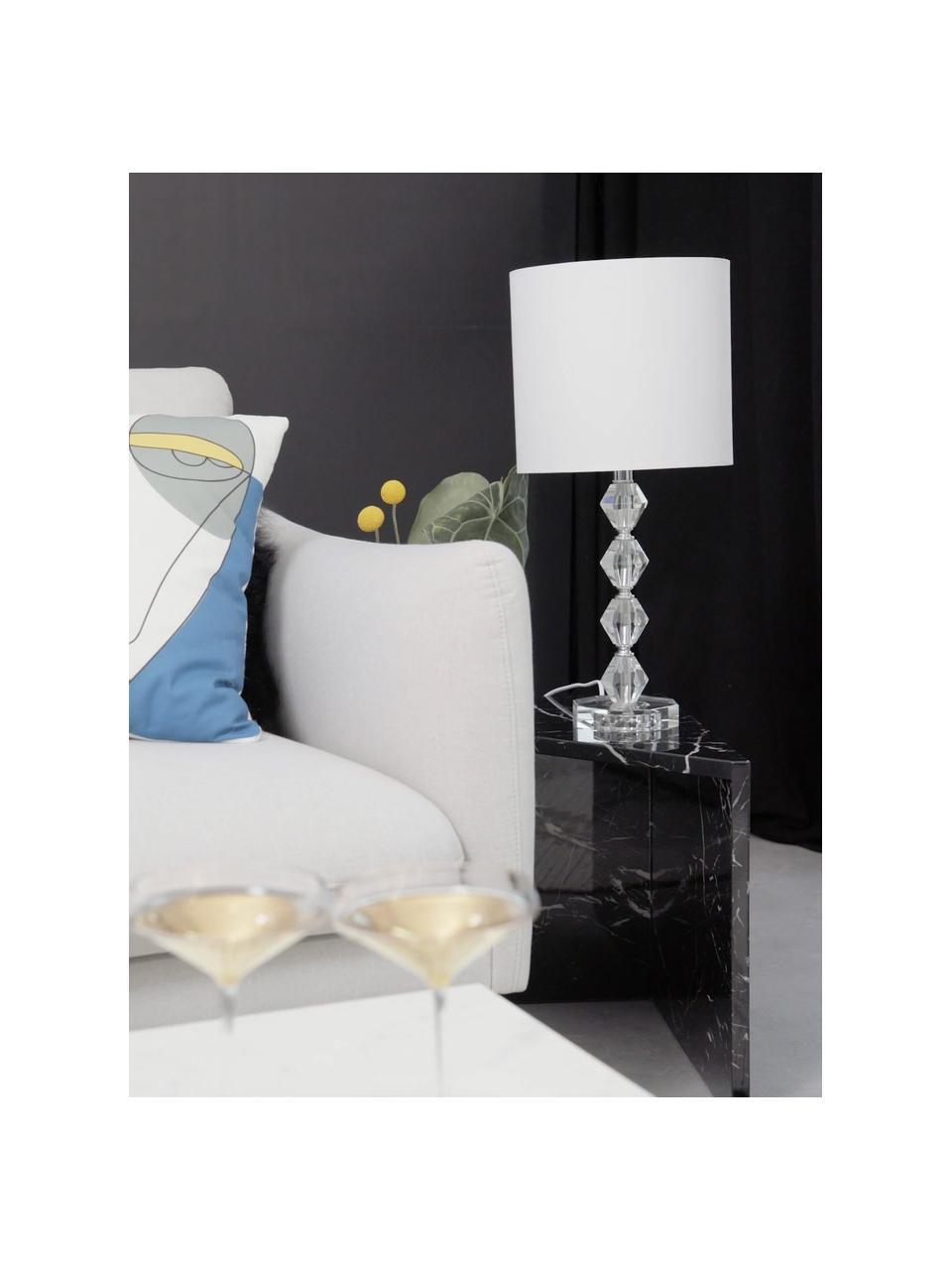 Lampa stołowa ze szkła kryształowego Diamond, Klosz: biały Podstawa lampy: transparentny Kabel: biały, Ø 25 x W 53 cm