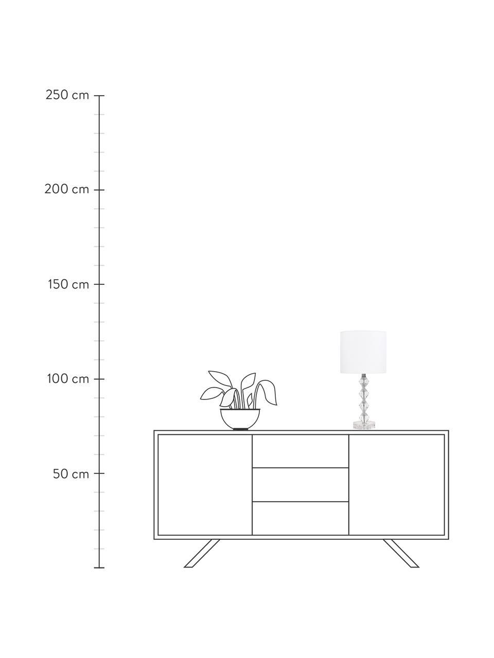 Grande lampe à poser en verre de cristal Diamond, Abat-jour: blanc Pied de lampe: transparent, Câble: blanc