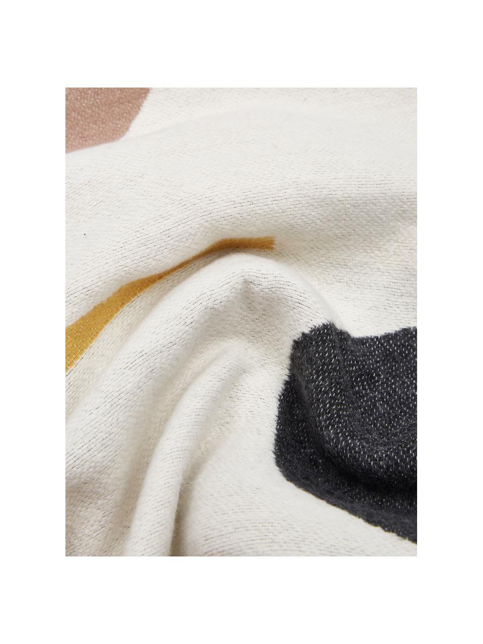 Kussenhoes Nova met abstract patroon, 85% katoen, 8% viscose, 7% polyacryl, Crèmekleurig, multicolour, 40 x 60 cm