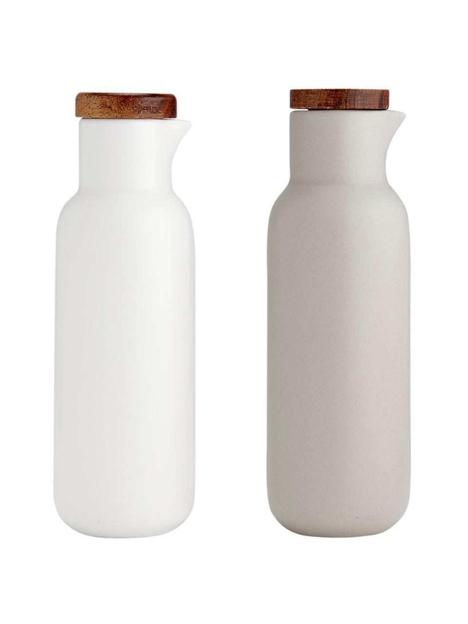 Dozownik do octu i oleju z porcelany i drewna akacjowego Villa, 2 elem., Biały, jasny szary, Ø 6 x W 18 cm