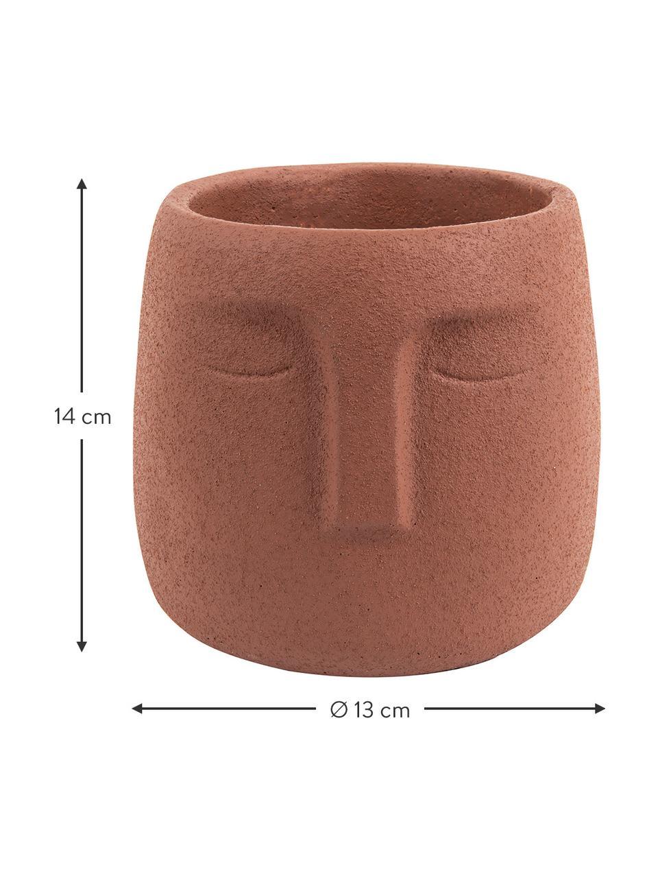 Übertopf  Face aus Keramik, Keramik, Braun, Ø 13 x H 14 cm